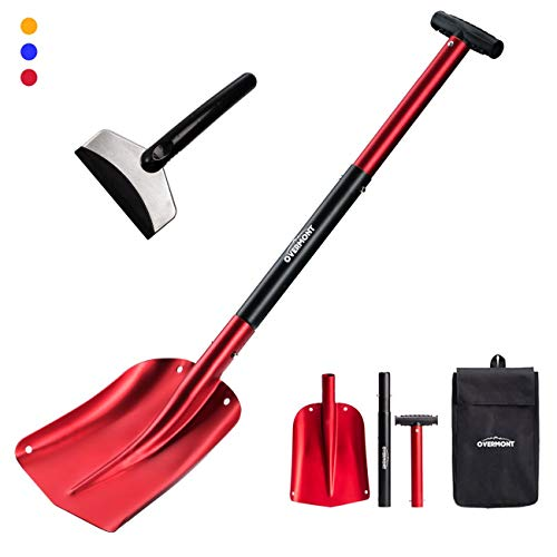 "Overmont Aluminum Snow Shovel 3 Piece Collapsible Design 26"" – 32"" Lightweight Portable Sport Utility Shovel for Car, Camping, Garden and Other Outdoor Activities with Ice Scraper Carrying Bag"