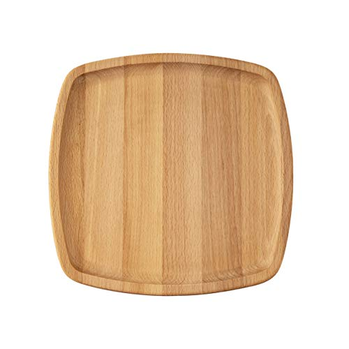 KAYIN Wooden Plates (Set of 4) Dinner Plates - 10 Inch Square Wood Plates - Chargers For Dinner Plates - Serving Trays Beechwood - Unbreakable, Reusable Plate - Natural Wood Dinnerware