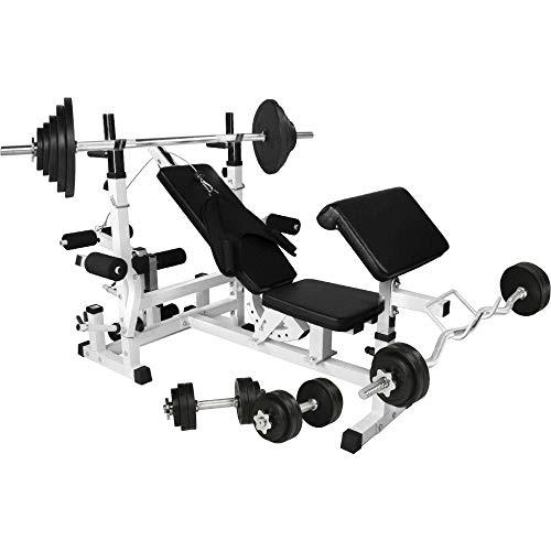 GORILLA SPORTS® Hantelbank Universal mit Hantel-Set Gummi 108 kg - Langhantel, Curlstange, Kurzhanteln, Gewichtsscheiben und Sternverschlüssen