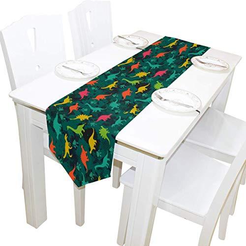 NotApplicable Table Runners Dinosaurio Tropical 33X229Cm Patron De Cafe Casero Camino De Mesa Largo Tocador Decorativo Bufandas Cocina Mesa De Comedor Banquete Fiesta Decoracion Navidena
