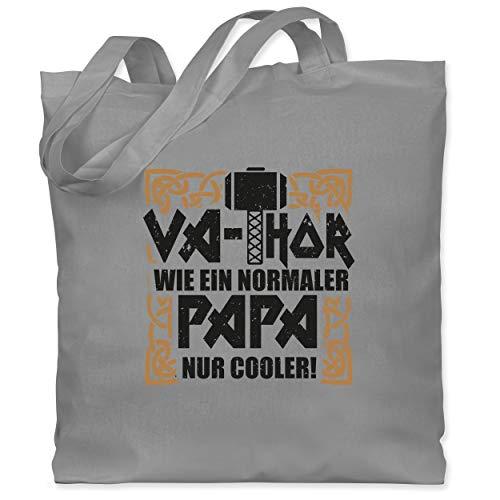 Shirtracer Vatertagsgeschenk - Va-Thor wie ein normaler Papa nur cooler! - schwarz/braun - Unisize - Hellgrau - Fun - WM101 - Stoffbeutel aus Baumwolle Jutebeutel lange Henkel