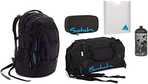 Satch Pack - Set 5 tlg. - schwarz Bounce - Schulrucksack + Sporttasche + Schlamperbox + Heftbox + Trinkflasche