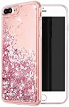 iphone 7 Plus Case, iPhone 8 Plus Case, WORLDMOM Double layer Design Bling Flowing Liquid Floating Sparkle Colorful Glitter Waterfall TPU Protective Phone Case for Apple iPhone 7 plus-Pink