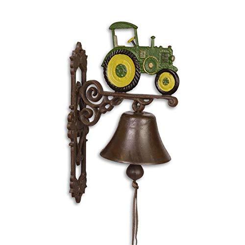 Moritz gietijzeren wandklok tractor tracker geel groen klok deurbel 37 cm hoogte huisklok antieke stijl bruin bel versierd
