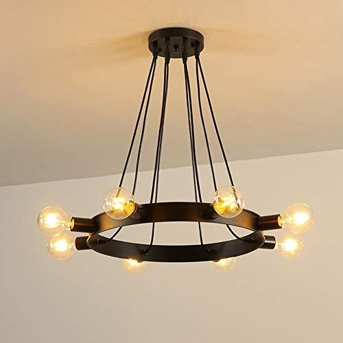 Hai Ying Retro industriële stijl ronde kroonluchter persoonlijkheid creatieve woonkamer eenvoudige restaurant hanglampen smeedijzeren kledingwinkel lampen 8-kops cirkel hanglamp zonder gloeilamp