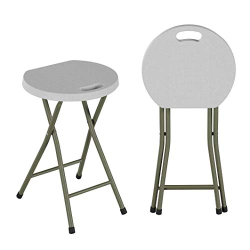 """Folding Portable Bar Stool–Set of 2 Heavy Duty 18"""" Collapsible Round Seat with Handle & 300lb Capacity for Indoor & Outdoor Use by Lavish Home, White"""
