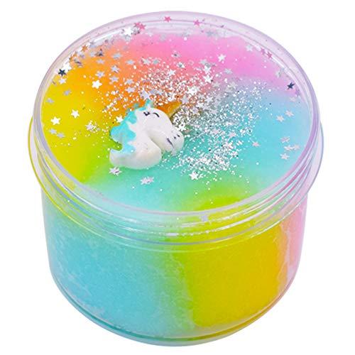 SWZY Einhorn Schleim Set, DIY Fluffy Schleim - Unicorn Jumbo Cloud Regenbogen Slime Stress Relief Toy für Kinder und Erwachsene Weich(Pink / Gelb / Blau)