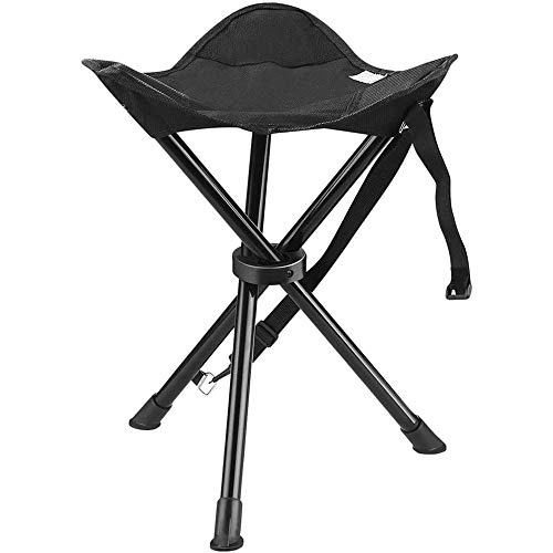 PuuuK Outdoor Folding Stool, Super Light And Easy To Carry Director Chair Beach Chair Maza Stool for Outdoor Fishing Hunting And Hiking,Black