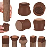 Upgraded 1-1/6' Chair Leg Protectors for Hardwood Floors with Felt|Round&Square Silicone Chair Leg Covers for Mute...