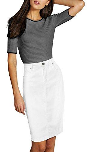 Lexi Womens Pull on Stretch Denim Skirt SKS19411 White 8