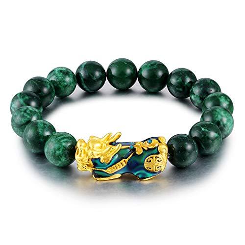 KIFFAY Men's Bracelet Sand Gold Jewelry Dry Blue Bracelet Sapphire Stone Sand Gold Colorchanging Pixiu Bracelet Green Agate Bracelet Jade Bracelet