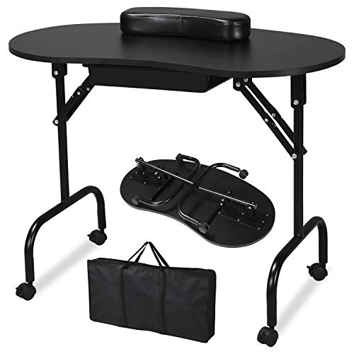 Yaheetech 37-inch Portable & Foldable Manicure Table Nail Desk Workstation with Large Drawer/Client Wrist Pad/Controllable Wheels/Carrying Case for Spa Beauty Salon Black