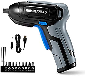 Hammerhead Rechargeable 4V Cordless Screwdriver with 9-Pieces Bit