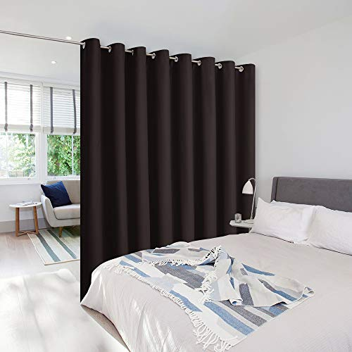 NICETOWN Room Dividers Curtains Screens Partitions, Premium Heavyweight Laundry Room Divider for Office, Vintage and Sliding Room, Including 16 Silver Ring Top (1 Panel, 15ft Wide x 8ft Long, Brown)