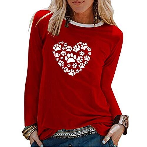 YANFANG Camiseta De Manga Corta Suelta con Cuello Redondo Y Estampado Informal A La Moda para Mujer, Blusa Superior, Jersey Camisetas Mujer Raya Blusas Tops Fiesta (Red2, L)