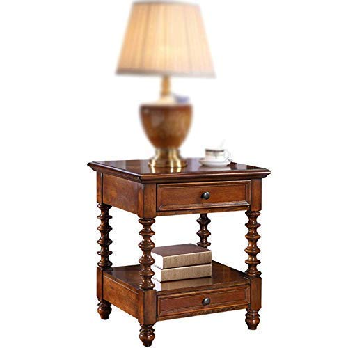 Dlili, mesita de noche simple, armario retro, madera maciza americana, mini lámpara de mesa, gabinete de almacenamiento de madera de fresno, sombrilla estrecha para exteriores, sombrilla portátil