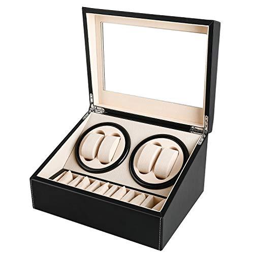 Automatische Uhrenbeweger Box, Gifort drehen Uhrenbeweger 4+6 Lagerung Schmuckschatulle PU-Leder Uhrengehäuse mit Batteriebetrieb oder Netzteil