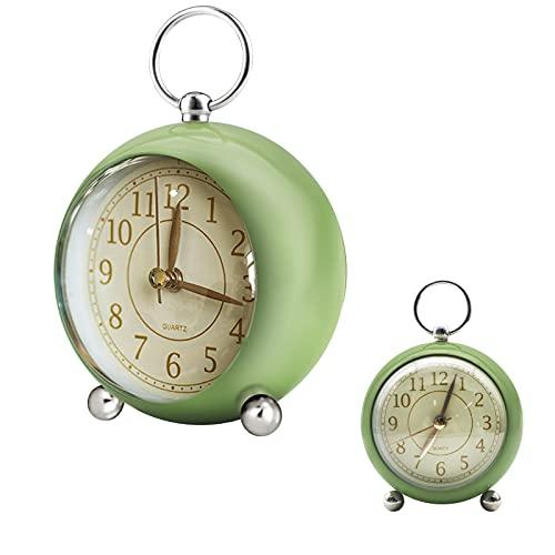 NEWLIUXI - Despertador analógico retro con doble campana, sin tictac, vintage, funciona con pilas, sonido de cuarzo, reloj de mesa con luz nocturna para niños, sueño profundo (verde)