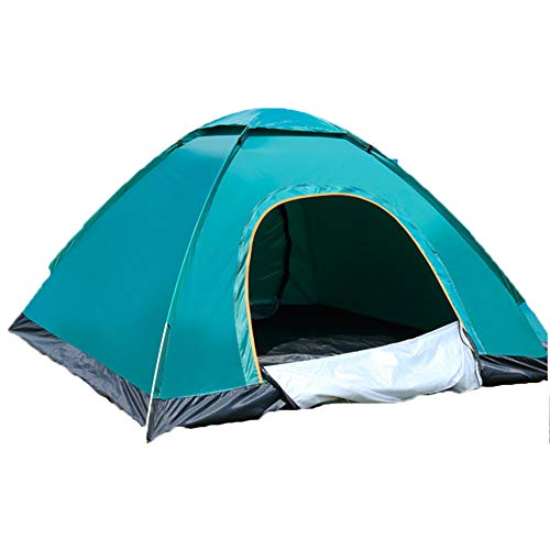 Dome Tent, 1-4 Person Family Camping Tent, Portable Outdoor Lightweight Tent Waterproof Wind Proof Anti-UV for Hiking Fishing Easy Setup, Automatic Tent (Dark green,Two people double door)