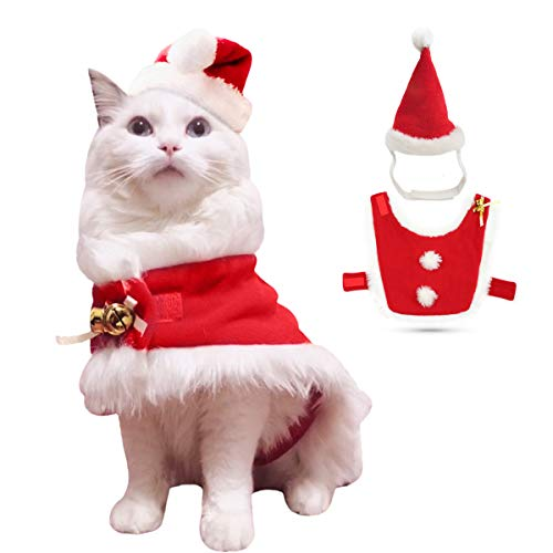 Enjoying Christmas Cat Costume Cat Santa Hat with Christmas...