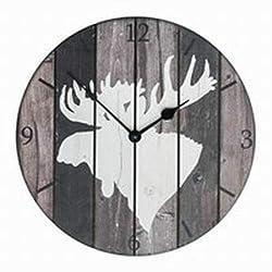 Sunbelt Gifts Lodge Round Moose Wood Wall Clock, Multi
