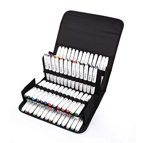 80 Slots Marker Pen Case, Large Capacity Folding, Extendable Foldable Hook, Marker Carrying Bag, Art Markers Pen Storage Durable Sketch Tools Organizer for Permanent Paint Marker (Black)