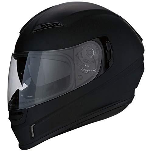 Z1R Casco de Moto Integral Homologado con Pantalla Transparente y Visera Parasol Desplegable | Ventilación | Negro Mate | Policarbonato | Hombre o Mujer (Large)