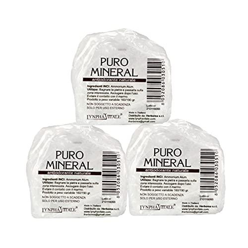 Deodorante naturale in allume di ammonio - 3 Pietre Grezze Antiodoranti 3 x 160/190 gr - Allume di potassio Puro Mineral - Deo Antiodore e Traspirante - Il Sale della Terra