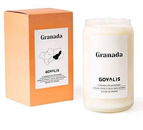 GOVALIS Vela Granada | Perfumadas y Aromáticas | Cera de Soja & Coco 100% Natural – Velas Recuerdos Relajación Decorativas Yoga Grandes Blancas Cumpleaños Regalos Originales – 70-90 h – 390 g