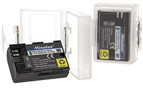 Minadax - Juego de 2 baterías y cajas protectoras para Canon LP-E6NH (2250 mAh, compatible con Canon XC10 XC15 EOS-R RA R6 R5 EOS 60D 70D 80D 90D 5DMark I II III IV 6DMark I II 7DMark I II