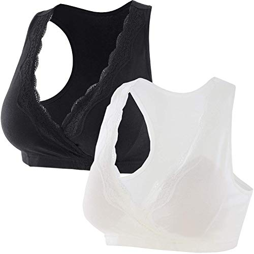 ZUMIY Schwangerschaft Still-BHS für Stillen und Schlaf, Damen Lace Baumwolle Mutterschafts-Still-BH,Nahtlose,Racerback Sleep Top (M (Fits for 75B/75C/75D), Black+White /2pack)