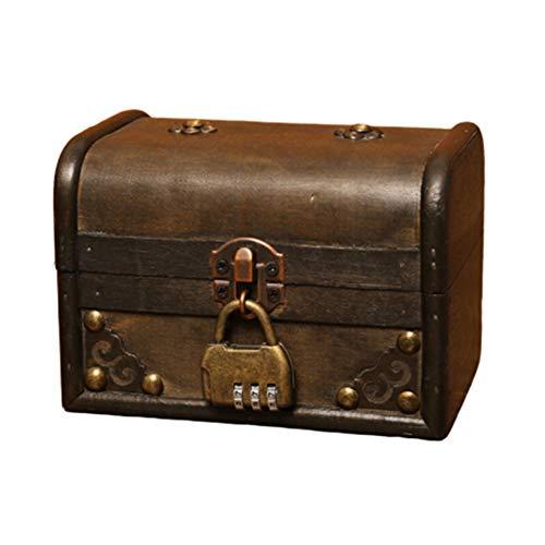 YOSEMITE - Caja de Almacenamiento de Madera para Guardar Joyas y Maquillaje, con Cerradura para decoración de Escritorio en casa o en la Oficina, NA, Candado de combinación, Combination Lock