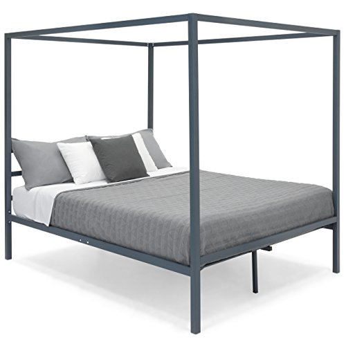 Best Choice Products Industrial 4 Corner Post Steel Canopy Queen Platform Bed Frame w/Headboard, Metal Slats, Gray