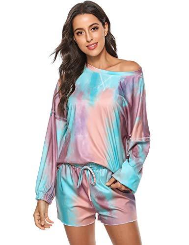 Hawiton Pijamas Mujer Verano Corto cómodo,Fresco Tie-Dye Estampado Ropa de Dormir,Mangas Larga Camiseta y Pantalones con Bolsillos 2 Piezas