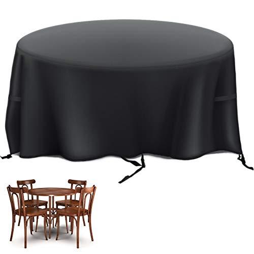 Velway Funda para Muebles de Jardín Exterior, Protectora para Mesas Redonda de Patio, Cubierta de Sofá Silla de Paño Oxford Impermeable a Prueba de Polvo Lluvia Sol Viento, 128x71cm Negro