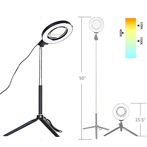 Dimmable Ring Light with Adjustable Height Light Stand,Selfie Stick...