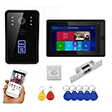 Timbre Con Video Wifi, Monitor De 7 Pulgadas + Cámara De Visión Nocturna IR-CUT, Desbloqueo De App RFID Videoportero Intercomunicador Sistema De Seguridad Para El Hogar,Set 3