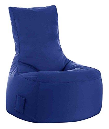 lifestyle4living Sitzsack für draußen in Blau aus wasserabweisendem Microfaserstoff   Bequemer Indoor/Outdoor Sitzsackstuhl mit Tasche, 300 l