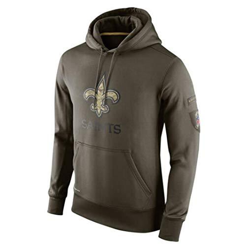 HSLIUYILYA Männer Amerikanischer NFL Football Hoodie - New Orleans Saints - Casual Sweatshirt Fans Trikots High Neck Hoodie Langarm-Pullover,L(170~175cm)