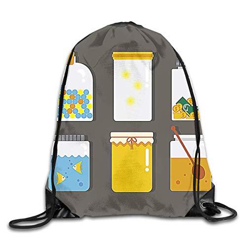 BXBX Plegable Mason Jar Elemenets Drawstring Backpack Bag Shoulder Bags Gym Bag for Adult