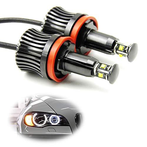 iJDMTOY 360-Degree Xenon White CREE 20W High Power H8 LED Angel Eyes Compatible With BMW E60 E61 E90 E92 E70 E71 E82 E89 1 3 5 Series X5 X6 Z4