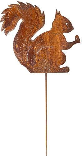 Metall Stecker Eichhörnchen Rost Stecken Beetstecker Tierfigur Edellrost Rasenstecker Eisen Gartenstecker Blumenstecker Blumenbeet Herbst Gras Garten Deko Gartendekoration braun (Eichhörnchen H60cm)