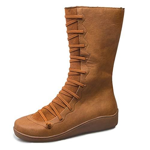 Botas Altas Mujer 2019 Otoño Vintage Cuero Zapatos Casuales Mujer Zapatillas con Cremallera Lateral de Moda Botines Cabeza Redonda Botas Plano riou