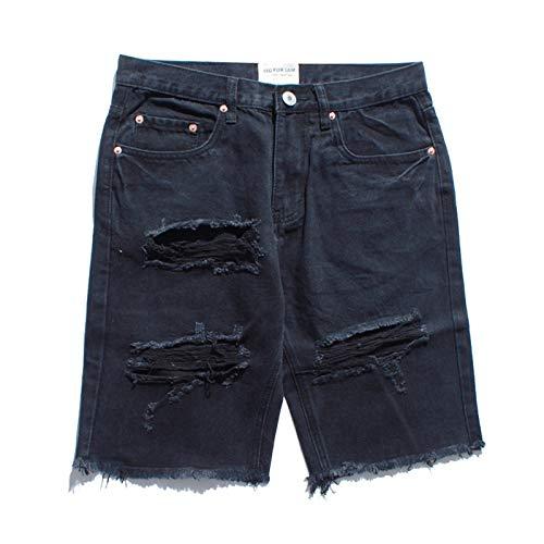 Pantalones Cortos de Mezclilla para Hombre Pantalones Cortos de Mezclilla Casuales con Personalidad de Pierna Ancha Sueltos y cómodos de Verano S