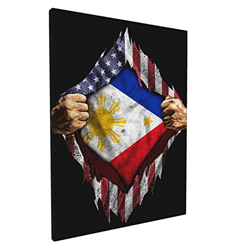 Filipino American Flag Wall Art Paintings Living Room Decor Canvas Prints Wooden Frame for Bedroom Office Home Decorations