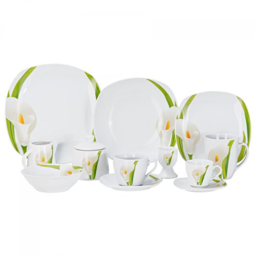 Kombiservice Calla 124-teilig eckig Porzellan für 12 Personen weiß mit Blumendekor