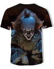 CCBZLY Unisex 3D clown patroon T-shirt, heren jongens zomer horror graphics All-Match korte mouwen grappig T-shirt bovenstuk