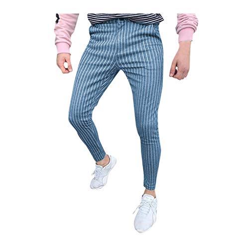 Xmiral Pantaloni Uomo Lunghi Cargo con Tasche Trousers Eleganti da Abito Formale Attillati Slim Fit Casual (L,Blu)