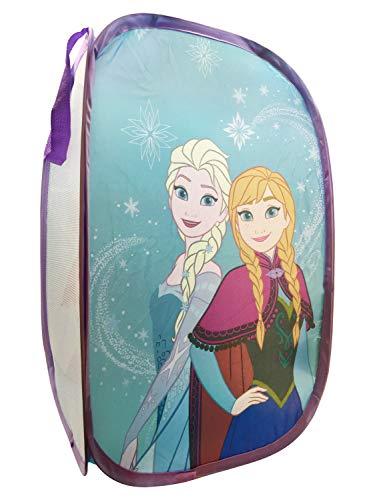 Jay Franco Disney Frozen Snowflake Dreams Pop Up Cesta – Características Ana & Elsa – cesta de lavandería de malla con asas duraderas, 22 x 14 pulgadas (producto oficial de Disney)