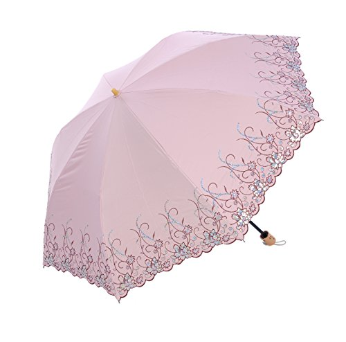 Honeystore Frilly Embroidery Lace Two Folding Parasol Travel Umbrella Pink